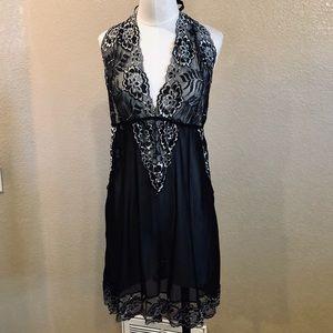 Other - NWOT black scalloped floral lace halter chemise